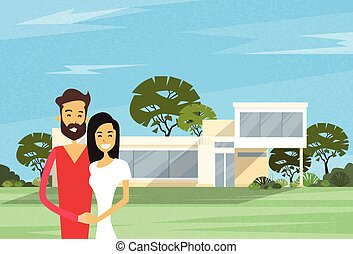 Couple Embracing In Front Of New House Modern Villa Vector...