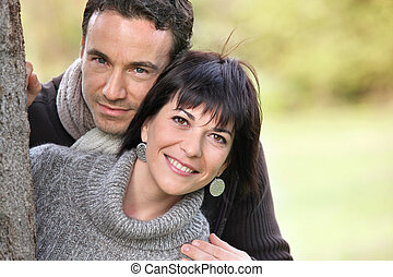 couple embracing in the park