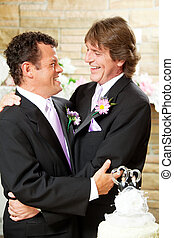 couple, embrasser, gay, mariage