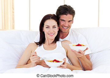 couple, enamoured, petit déjeuner, avoir