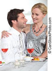 Couple enjoying a romantic evening together