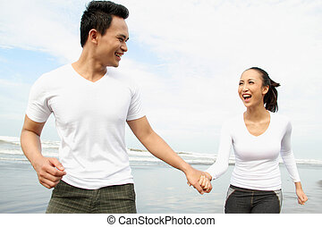 Couple enjoying a summer vacation