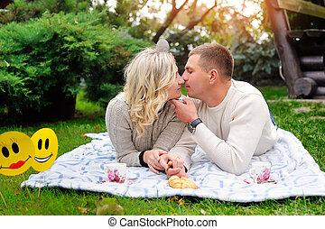 Couple enjoying a summery day
