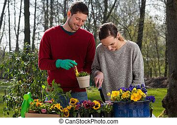 Couple enjoying garden work - Young happy couple enjoying...