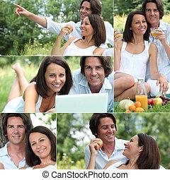 Couple enjoying romantic picnic
