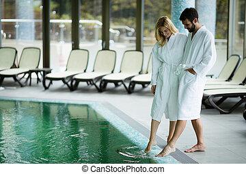 Couple enjoying spa wellness treatments