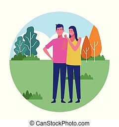 couple enjoying summer at park - happy couple together at...