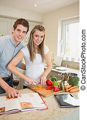 couple, ensemble, cuisine, heureux