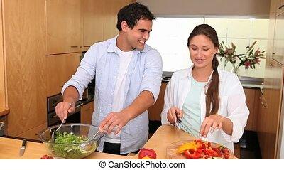 couple, ensemble, cuisine