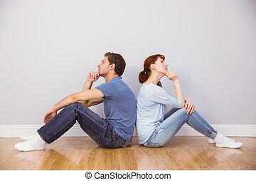 couple, ensemble, séance, plancher