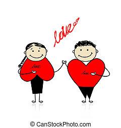 couple, ensemble, valentin, day., conception, ton