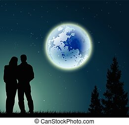 couple, entiers, silhouette, lune