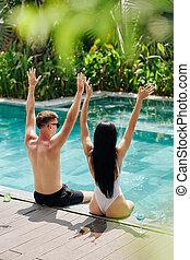 couple, excité, piscine