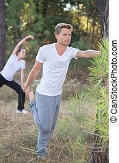 couple, exercisme, dehors