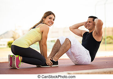 couple, exercisme, ensemble, dehors
