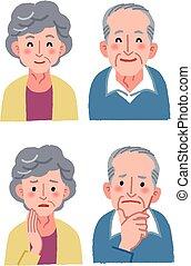 couple, expression, personnes agées