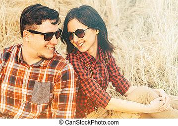 couple, extérieur, amour