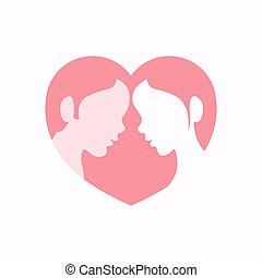 Couple faces in heart shaped silhouette