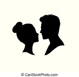 Couple faces silhouette. Couple facing each other. Man and woman romantic profile.