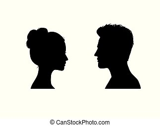 Couple faces silhouette. Couple facing each other. Young man and woman romantic profile.