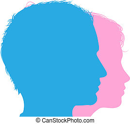 Couple faces silhouettes