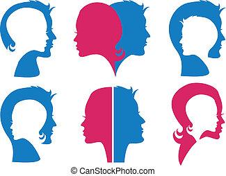 couple, faces, vecteur