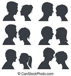 Couple faces, young boy and girl head vector silhouettes isolated on white