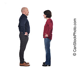 couple facing each other on white background