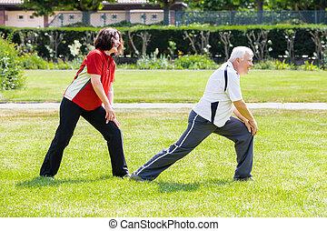 couple, faire, résoudre, dans parc