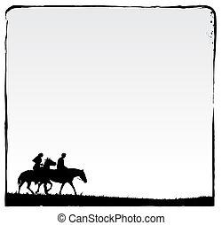 couple, faire, romantique, ride., encre, cadre