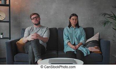 couple, famille, problem., séance, psychologist., jeune, divan