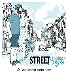 Couple Fashion City Street Poster