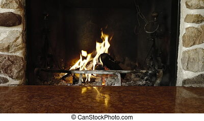 Couple feet cuddling relaxing fireplace warming winter...