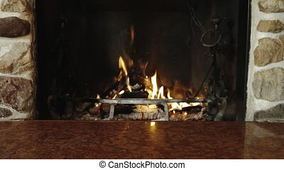 Couple feet relaxing fireplace warming winter holiday -...