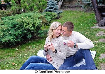 couple, femme, parc, homme