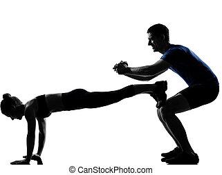 couple, femme, séance entraînement, s'exercer homme