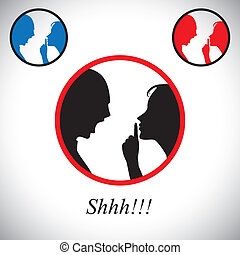 couple fighting each other with woman gesturing silence -...