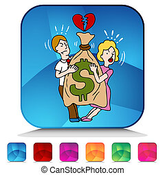 Couple Fighting Over Money Mosaic Crystal Button Set