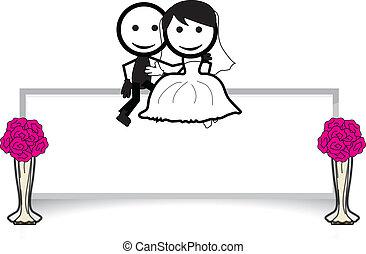 couple, figure bâton, mariage
