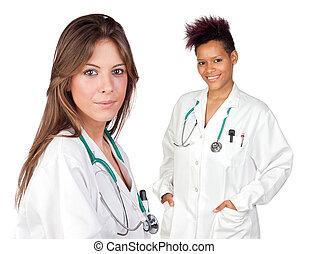 couple, filles, médecins