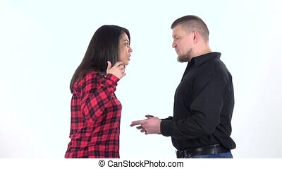 Couple find out the relationship on white background. Slow...