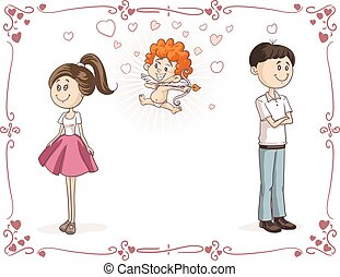 Couple Finding Love with Cupid Vector Cartoon.eps - Vector...
