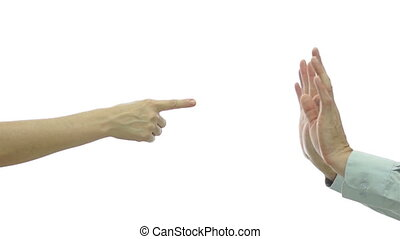 Couple Finger Pointing Male Give Up