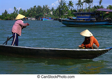Couple fishing boat on the Perfume - Couple fishing with a...