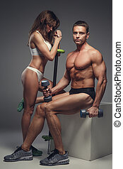 couple, fitness, poser, studio.