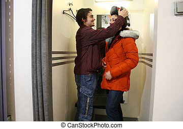 couple, fitting-room