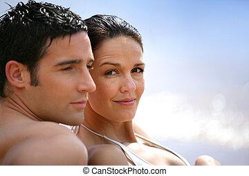 couple, fixation, ensemble, à, les, bord mer