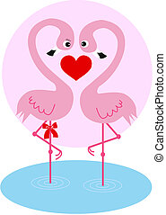 couple, flamant rose, amour