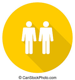 couple flat design yellow web icon