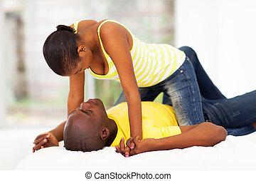 couple, flirter, africaine